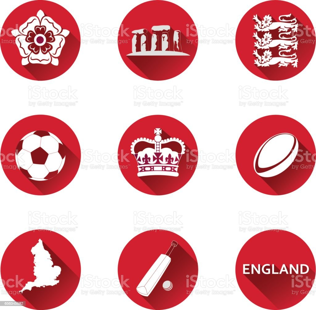England Icons Set vector art illustration