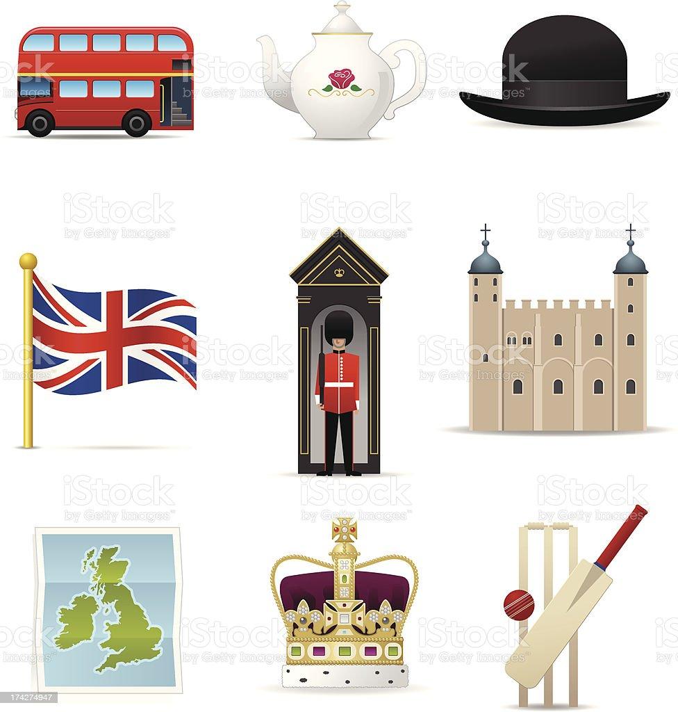 England Icons vector art illustration