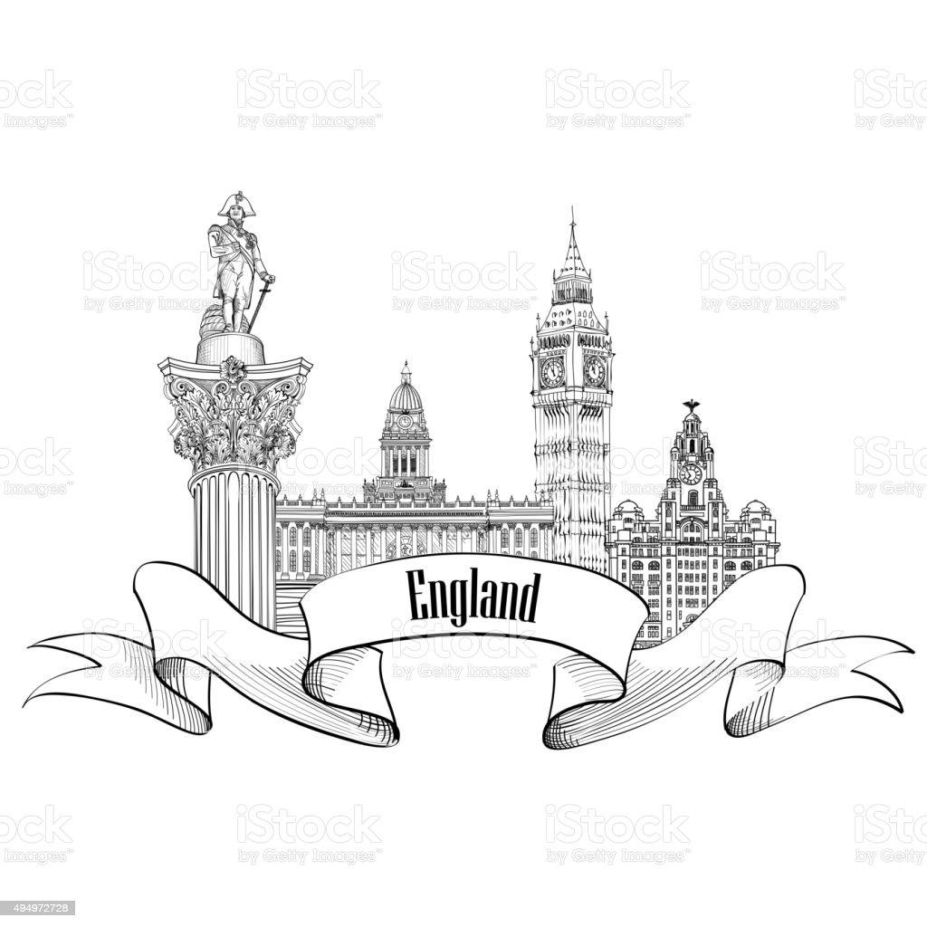 England label. Famous english architectural landmarks symbol. vector art illustration