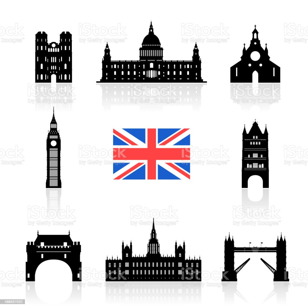 England Landmarks Icon Set. vector art illustration