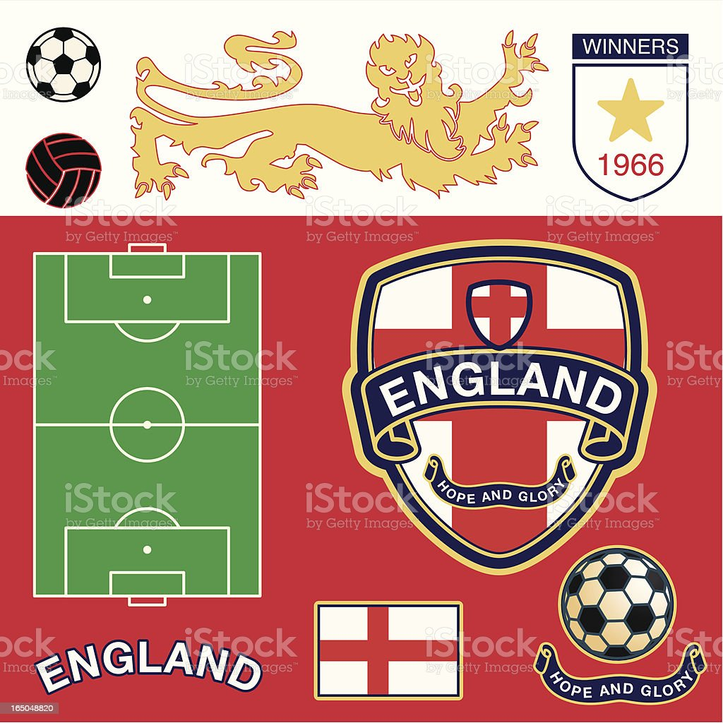 England Soccer Icons royalty-free stock vector art