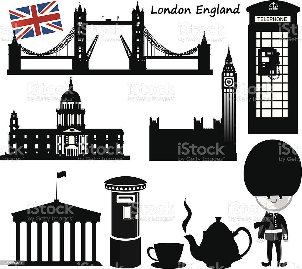 England Symbols vector art illustration