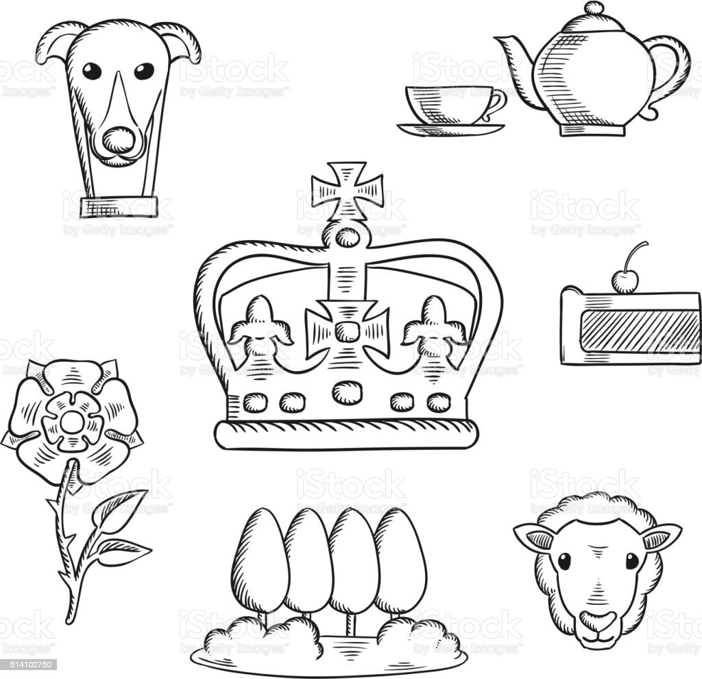 England traditional objects and symbols vector art illustration