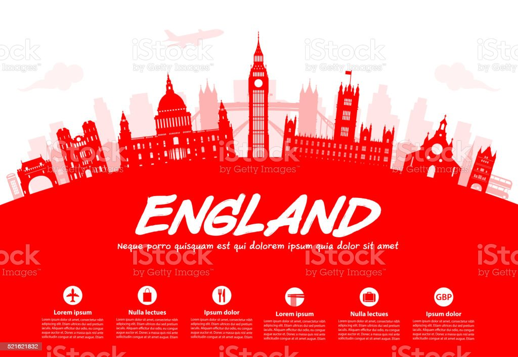 England Travel Landmarks. vector art illustration