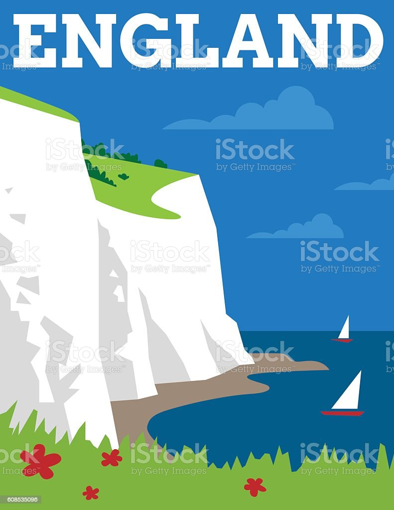 England Travel Poster vector art illustration