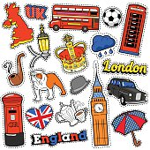 England Travel Scrapbook Stickers, Patches, Badges