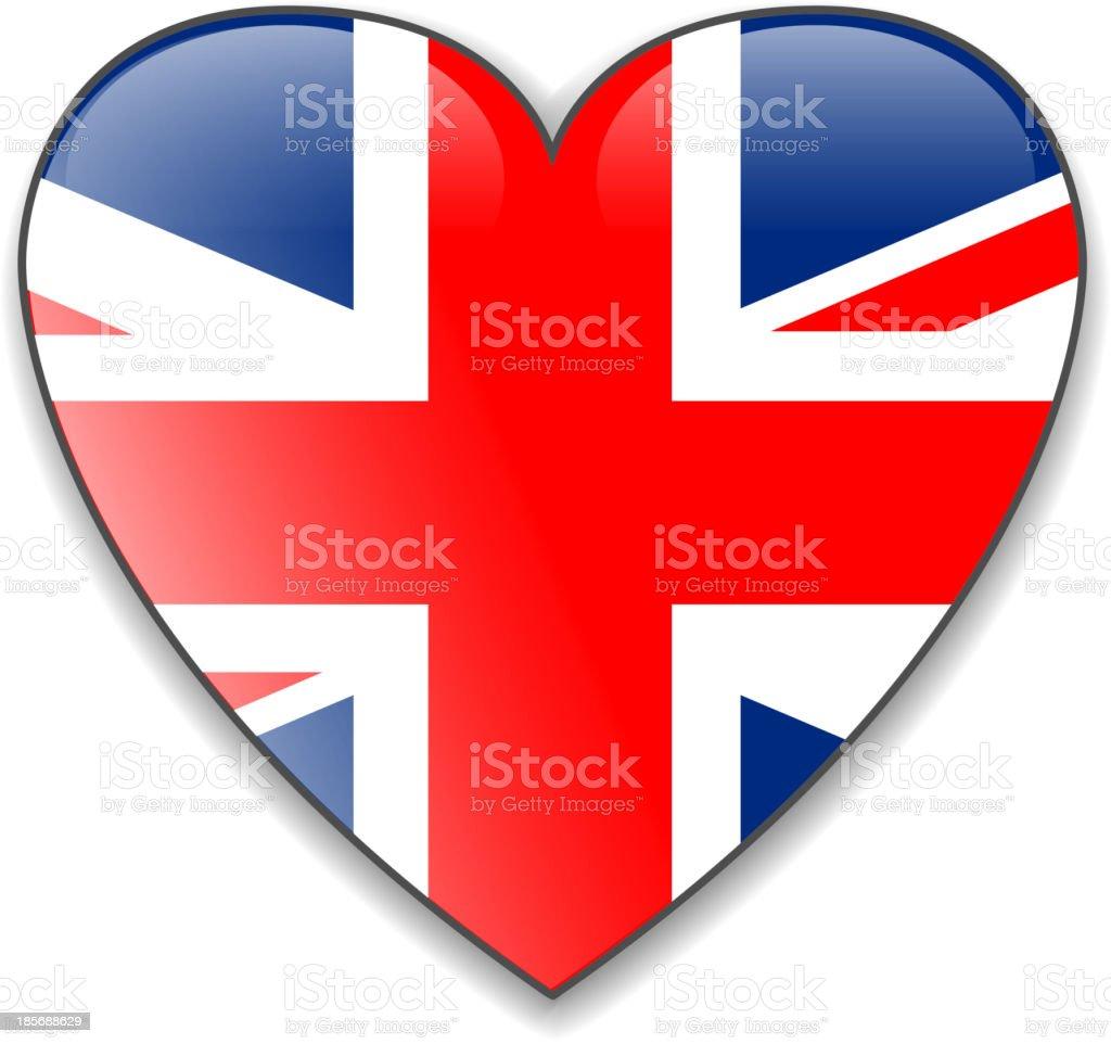 England UK flag heart button, vector royalty-free stock vector art