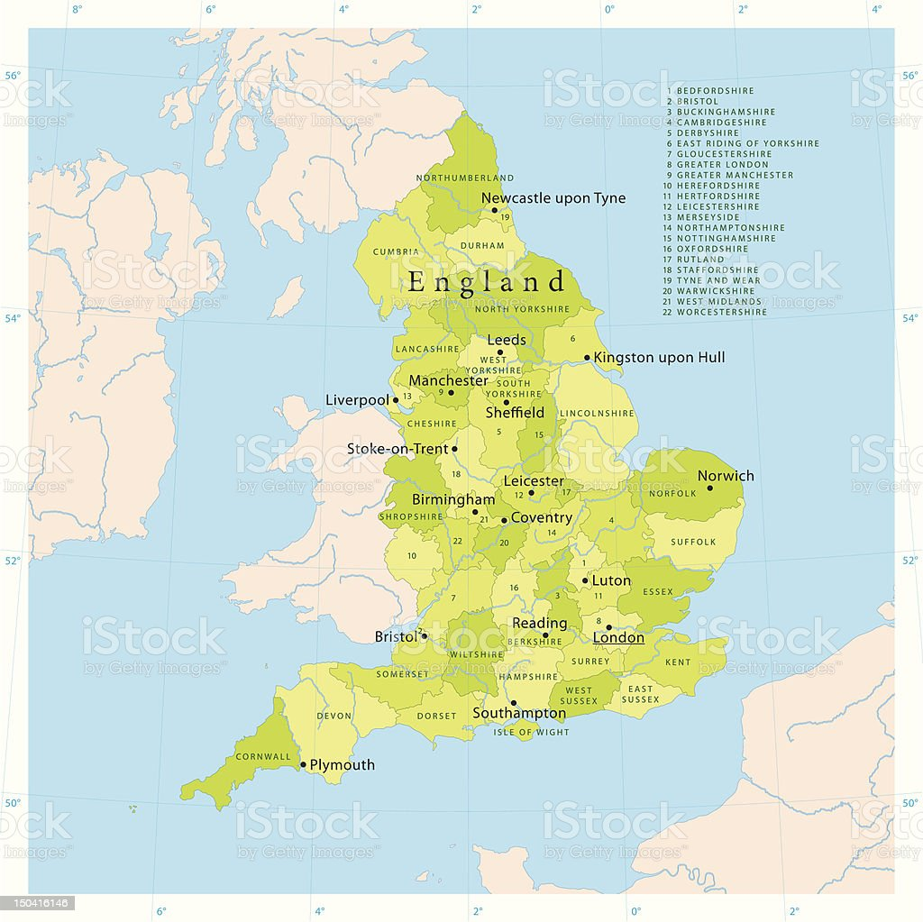 England Vector Map vector art illustration