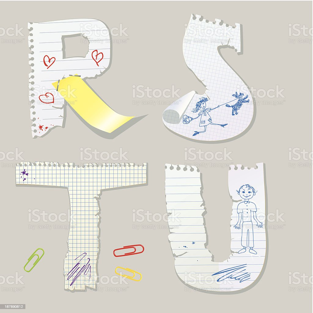 English alphabet - letters are made of old paper royalty-free stock vector art