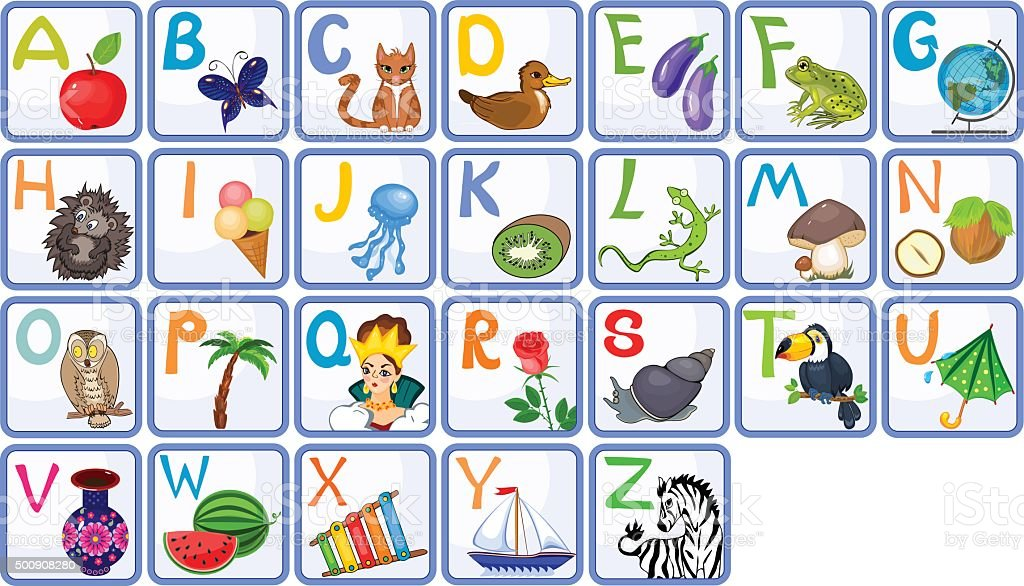 English alphabet with pictures vector art illustration