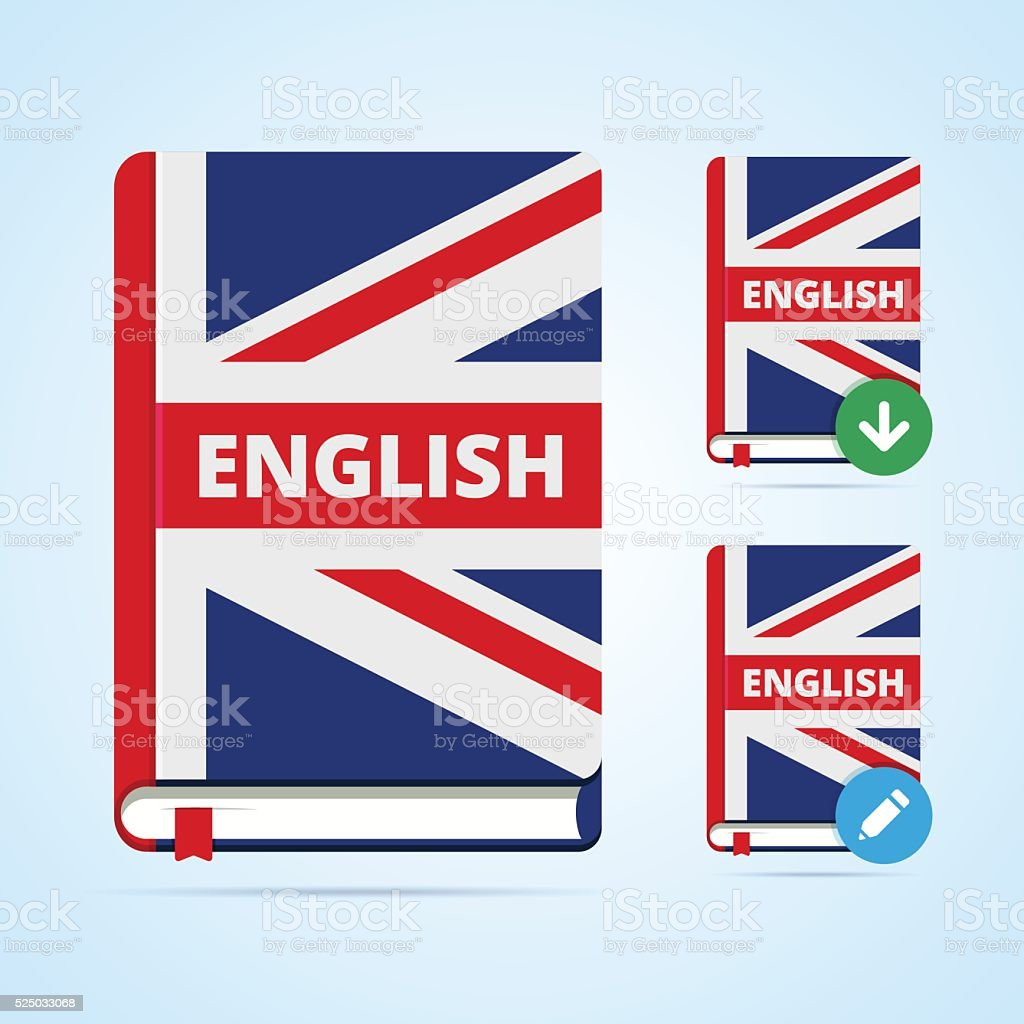 English book illustration with download and edit icons. vector art illustration