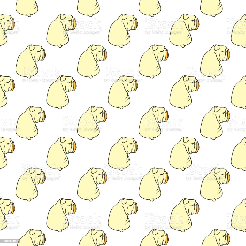 English bulldog pattern seamless vector art illustration