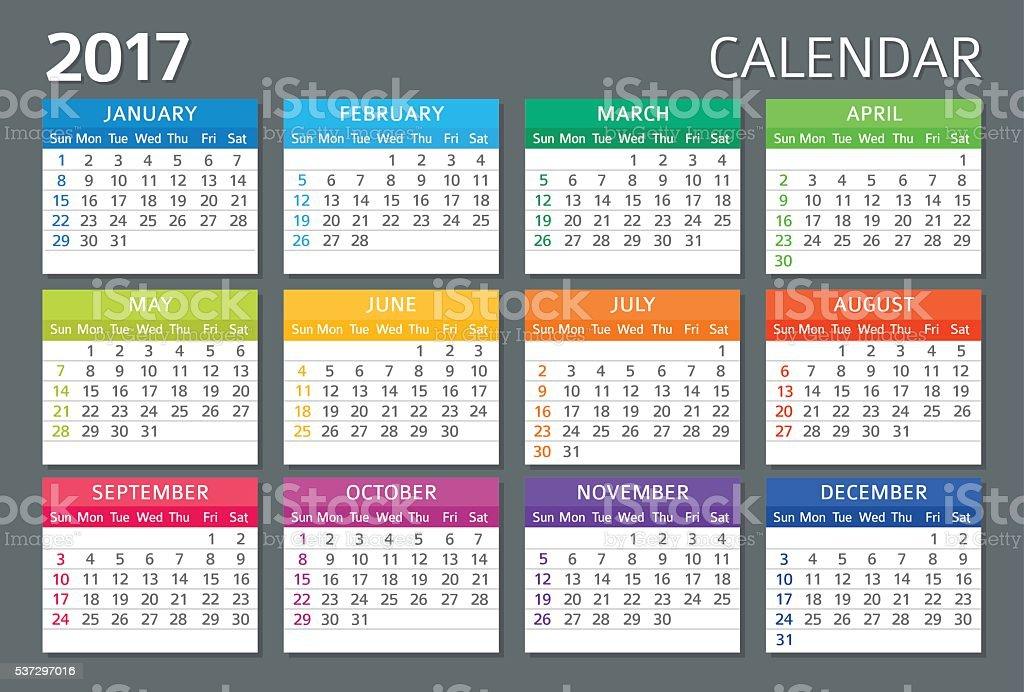 English Calendar 2017 vector art illustration