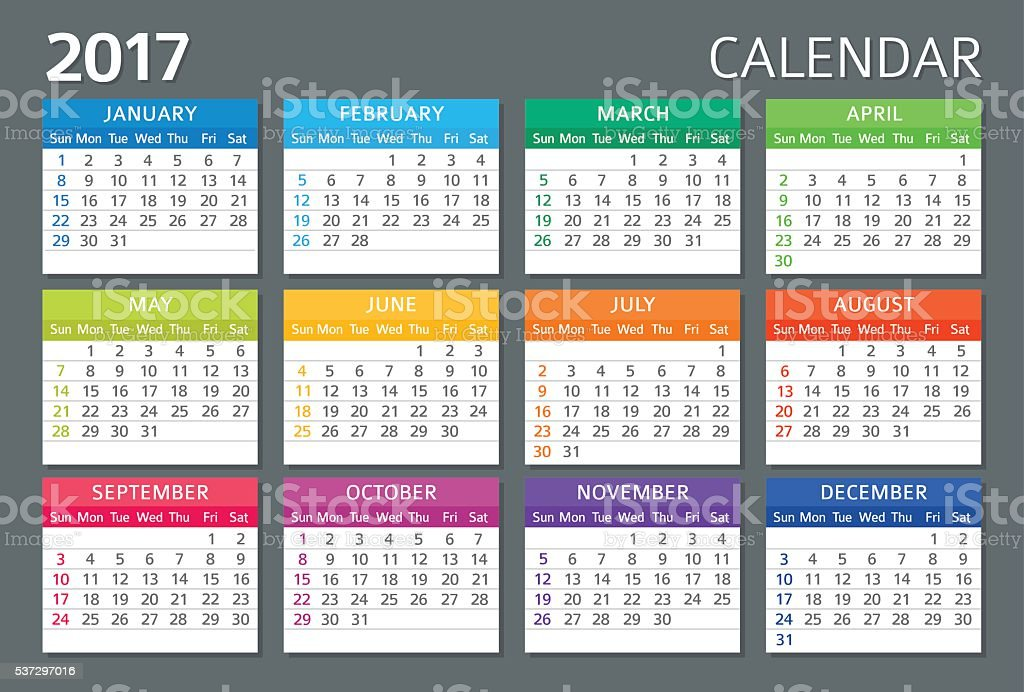 English Calendar 2017 vector art illustration