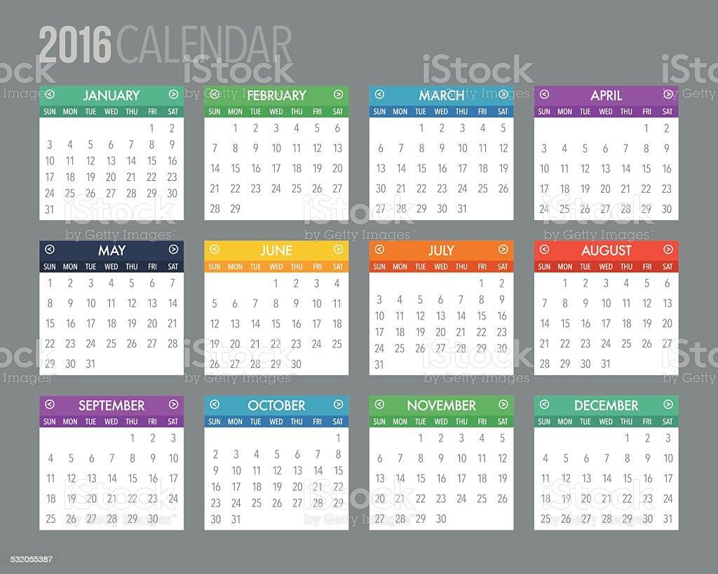 2016 English Calendar Template vector art illustration