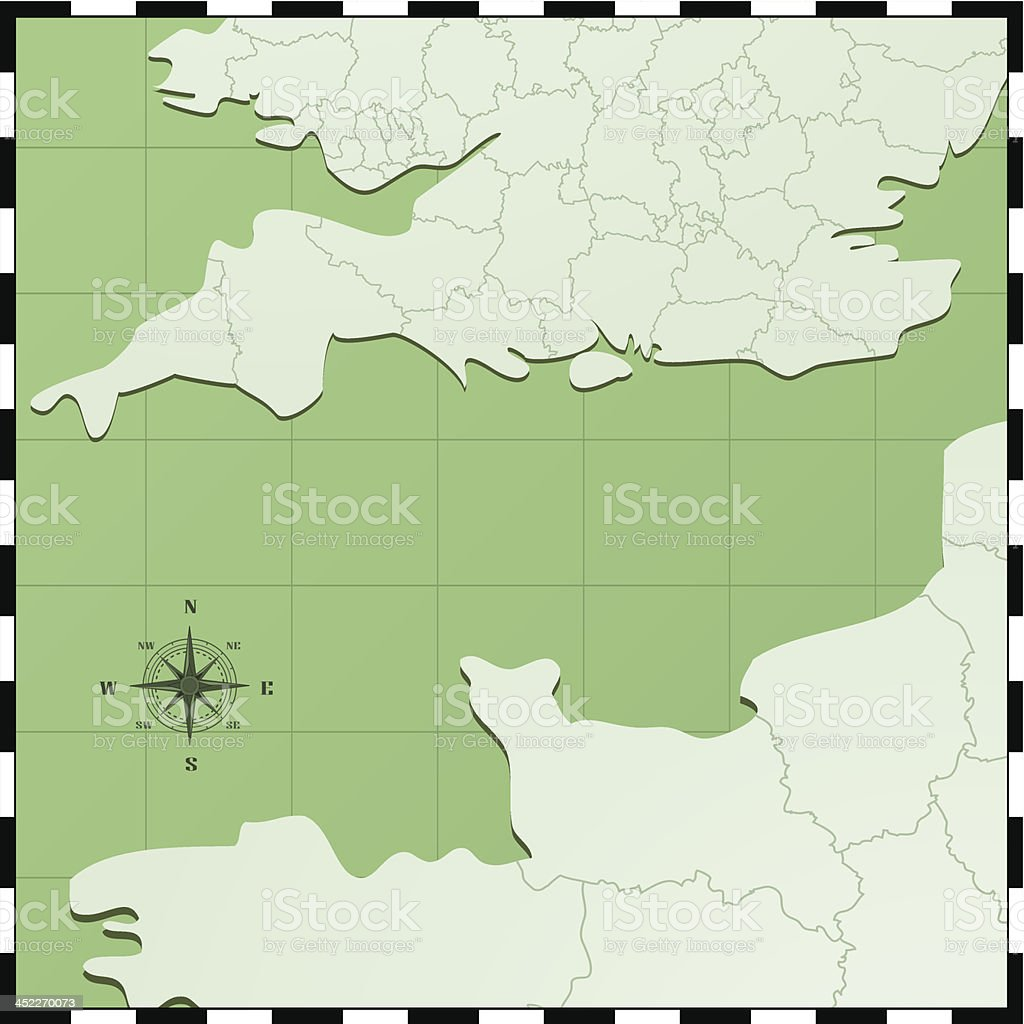 English channel map royalty-free stock vector art