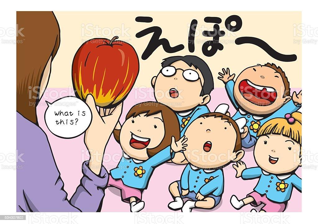 English education in the Kindergarten vector art illustration