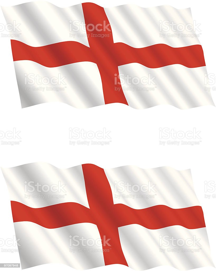 English Flag Flying in the Wind vector art illustration
