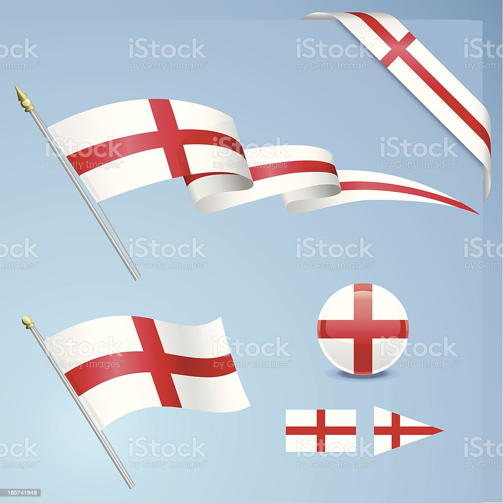 English Flag Set royalty-free stock vector art