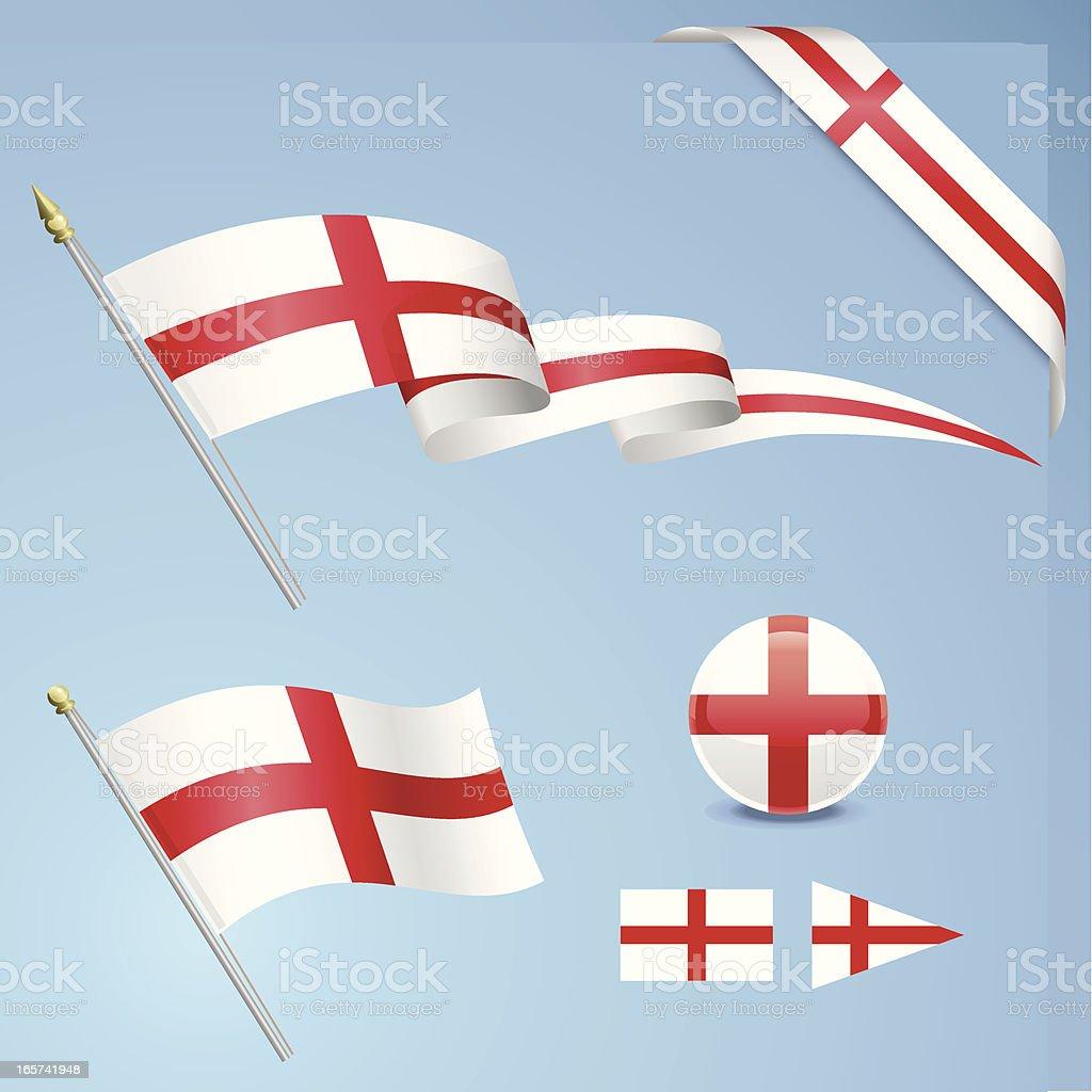 English Flag Set vector art illustration