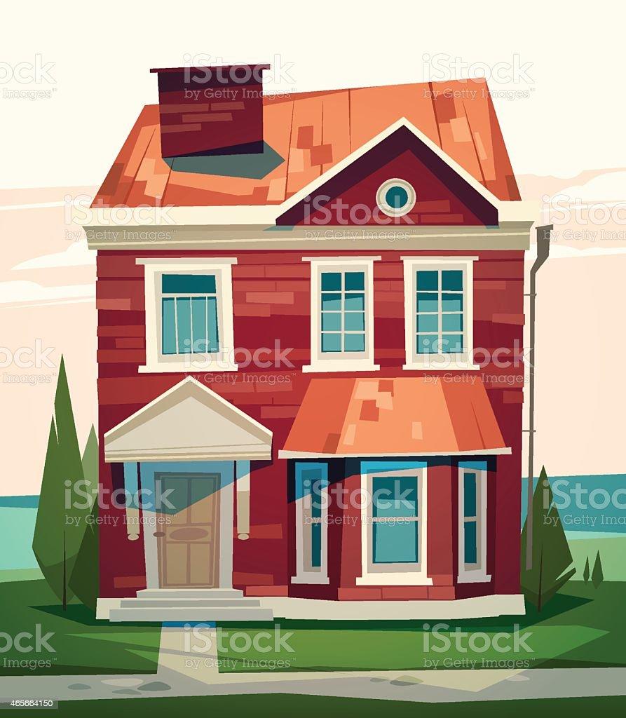 English house facade vector art illustration