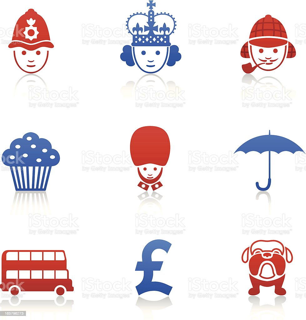 English Icons royalty-free stock vector art