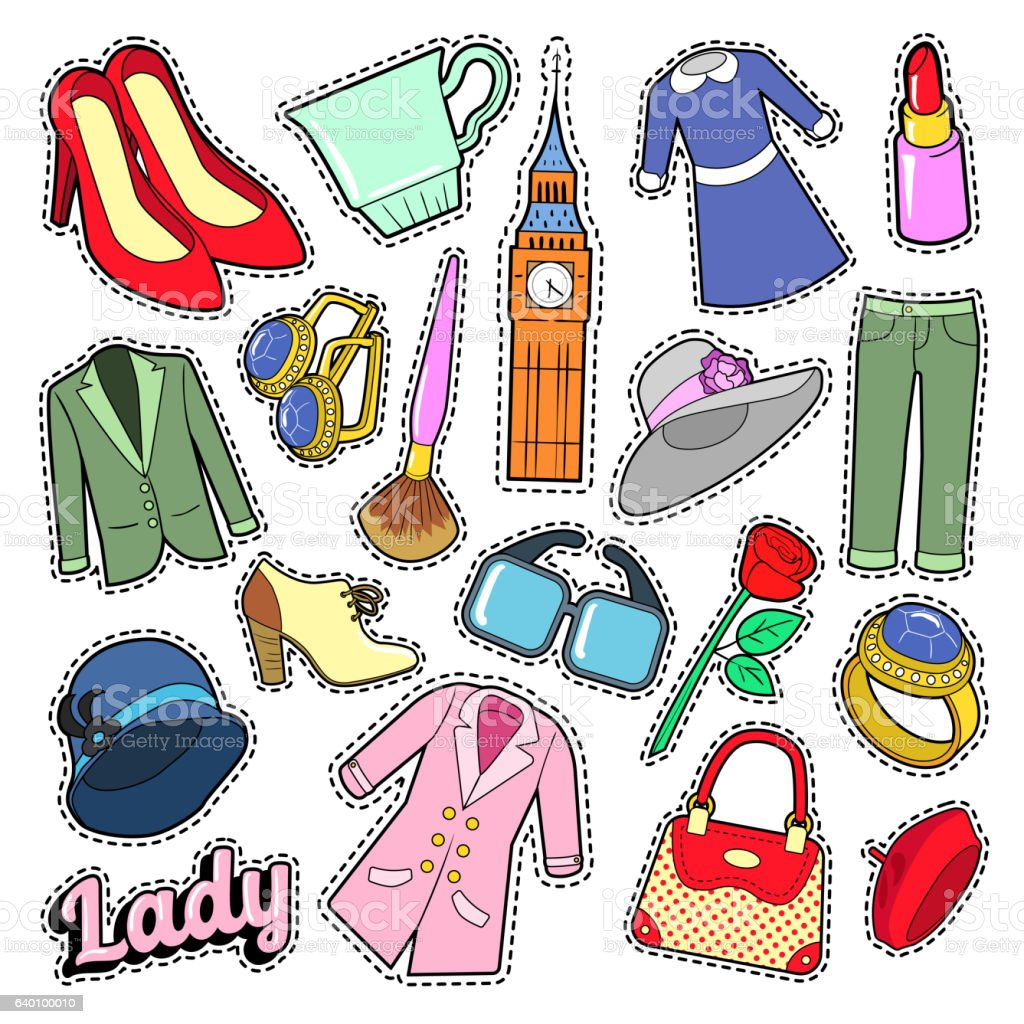 English Lady Woman Fashion Badges, Patches, Stickers vector art illustration