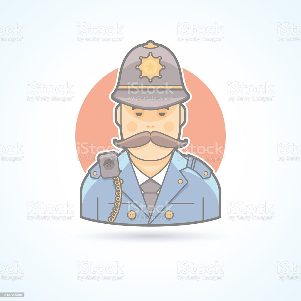 English policeman, british bobby icon.Flat avatar and person illustration. vector art illustration