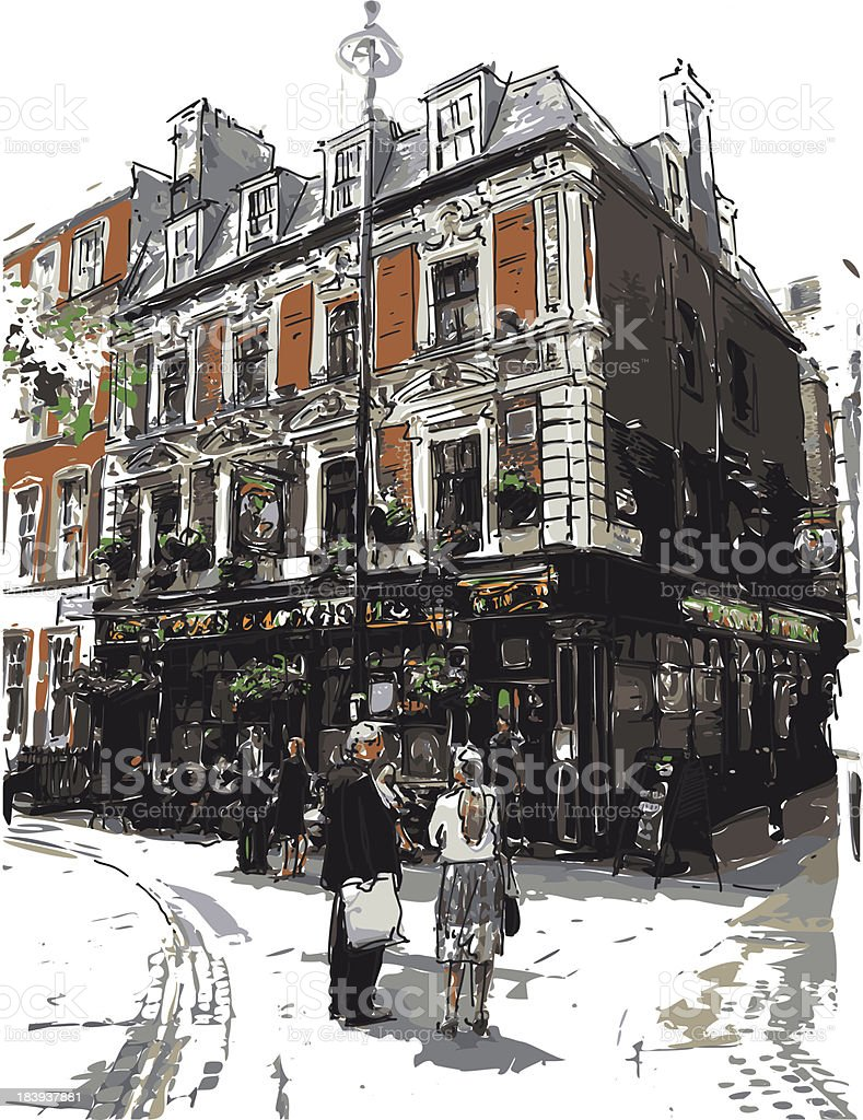 english pub vector art illustration
