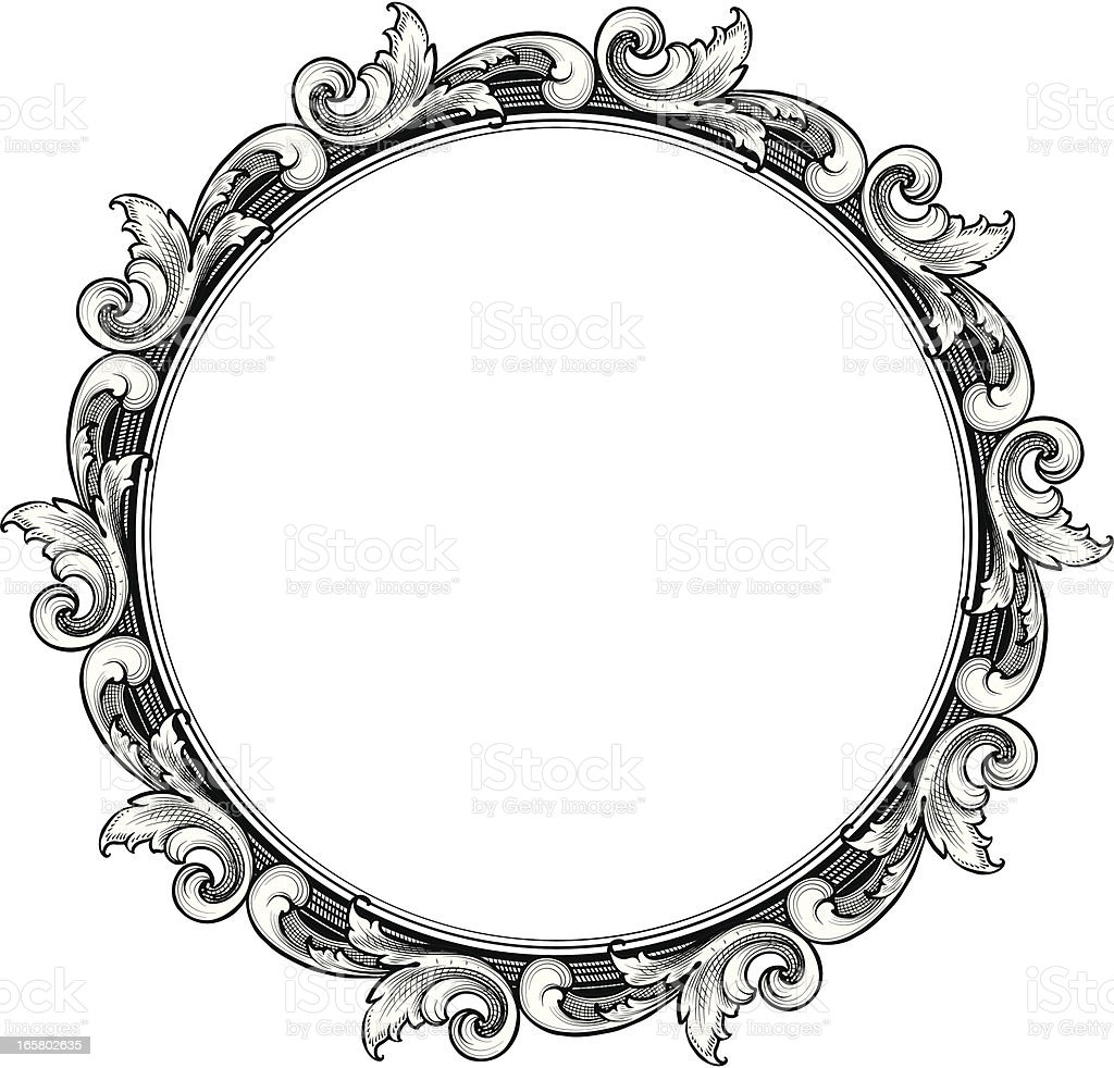 engraved Circle Scroll Frame royalty-free stock vector art