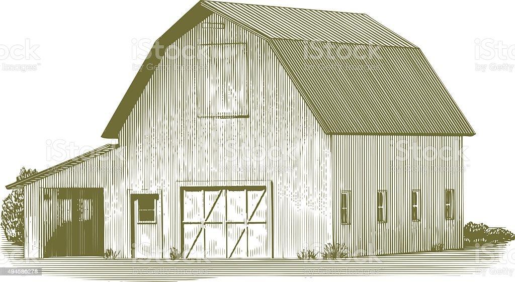 Engraved Cow Barn vector art illustration