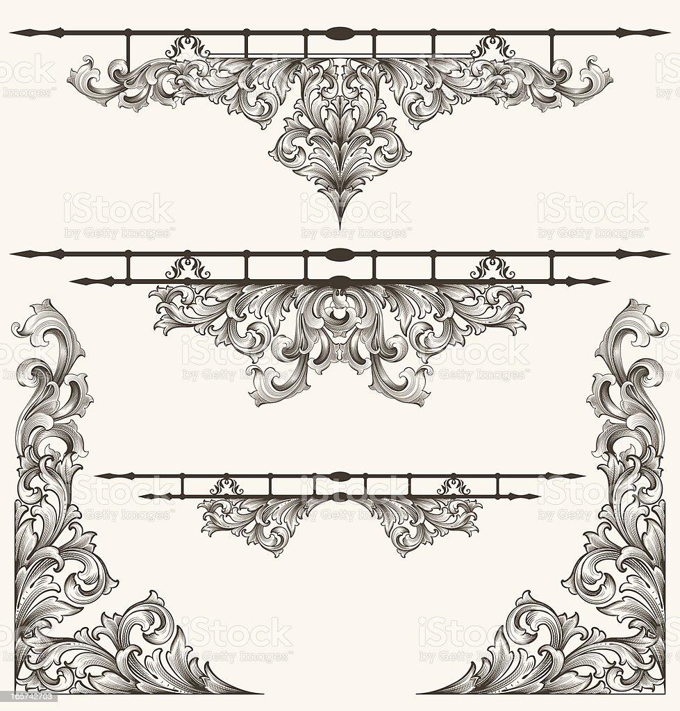 Engraved Element Assortment royalty-free stock vector art