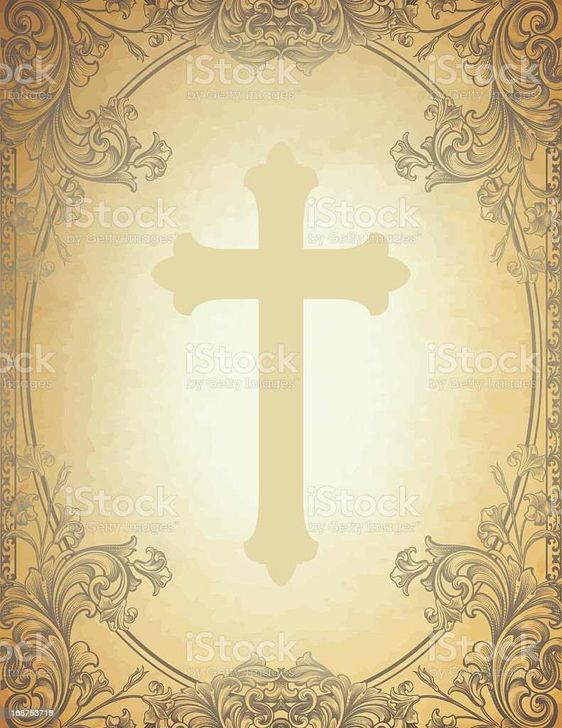 Engraved Floral Cross Frame royalty-free stock vector art