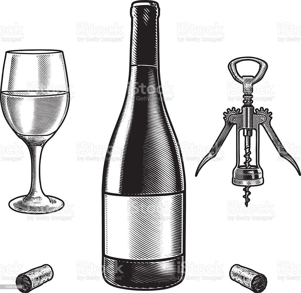 Engraved illustration of wine bottle and glass vector art illustration