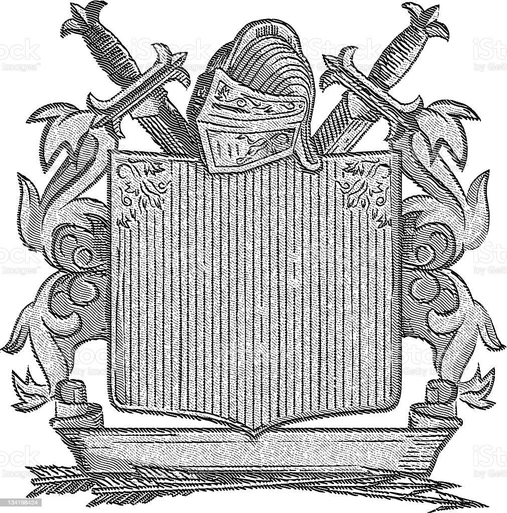 Engraved Knight's Crest vector art illustration