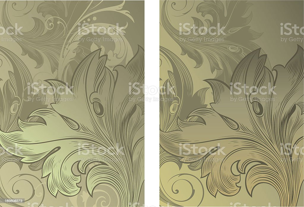 Engraved Leaf Background royalty-free stock vector art