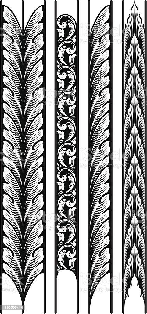 Engraved Leaf Borders vector art illustration