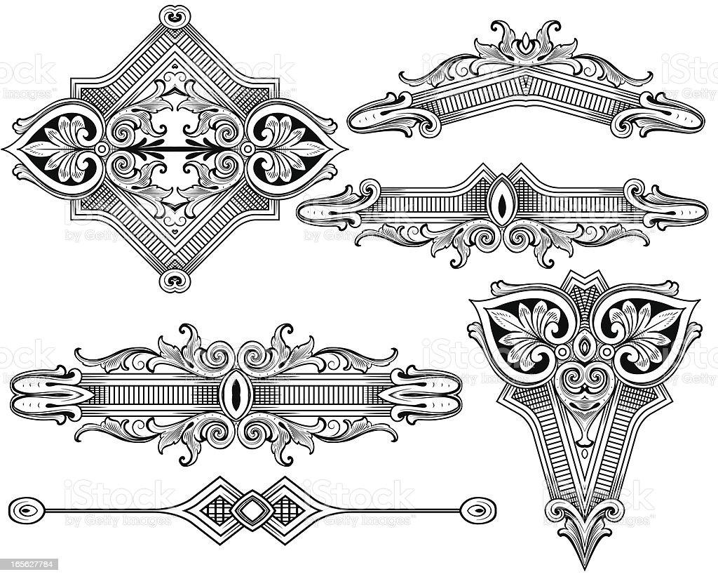 Engraved Ornament Set scrollwork royalty-free stock vector art