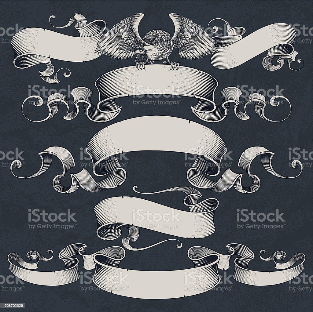 Engraved Ribbons Set vector art illustration
