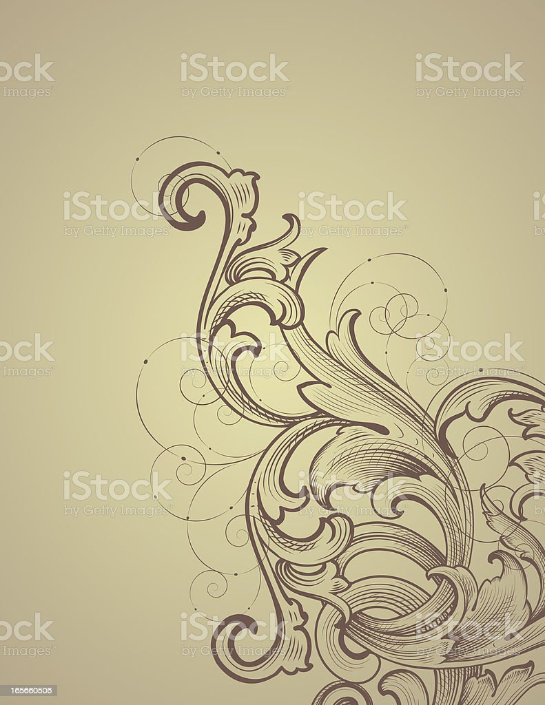 Engraved Scroll Corner royalty-free stock vector art