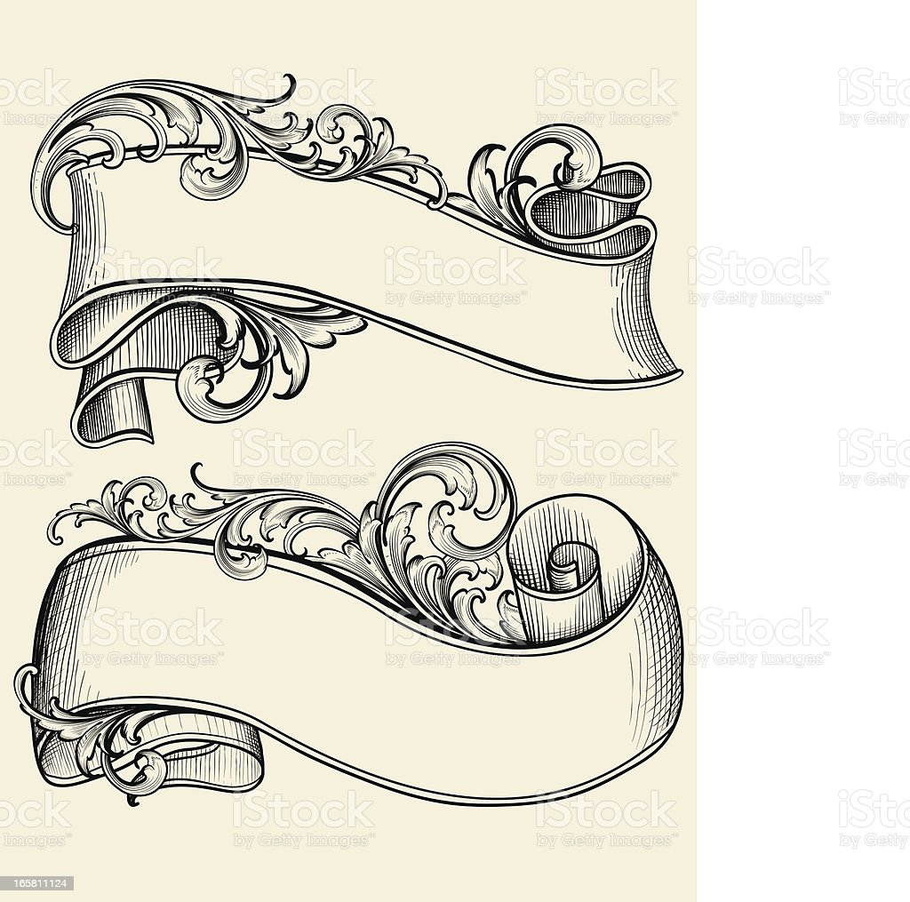 Engraved Scrollwork Banners vector art illustration