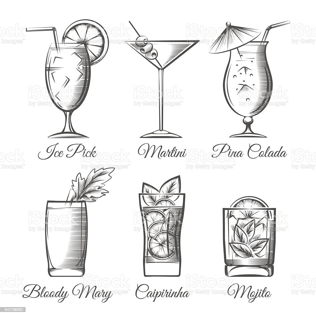 Engraving cocktails vector vector art illustration