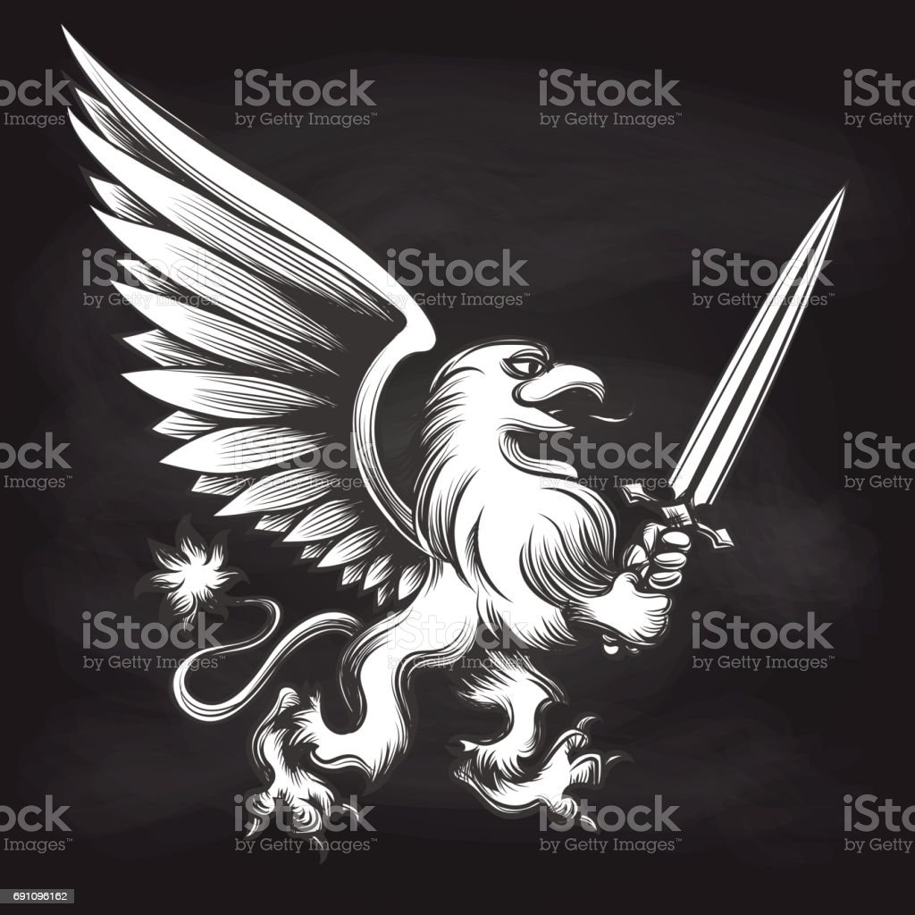 Engraving griffin with sword on chalkboard vector art illustration