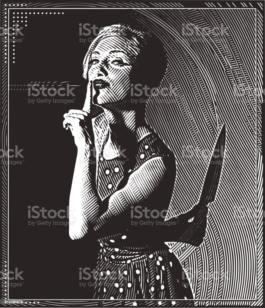 Engraving illustration of young woman with knife and murder secret vector art illustration