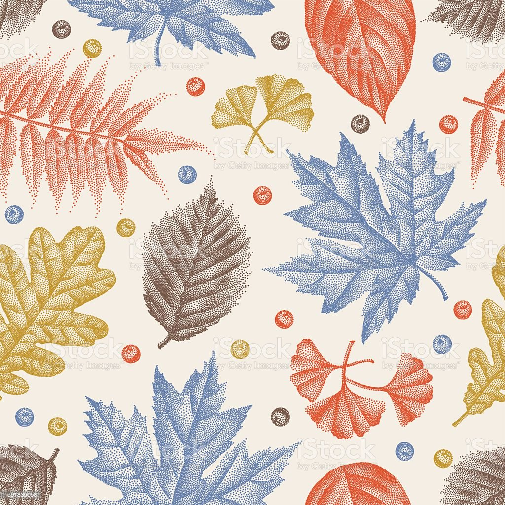 Engraving Leaves Seamless Pattern Vector Illustration vector art illustration
