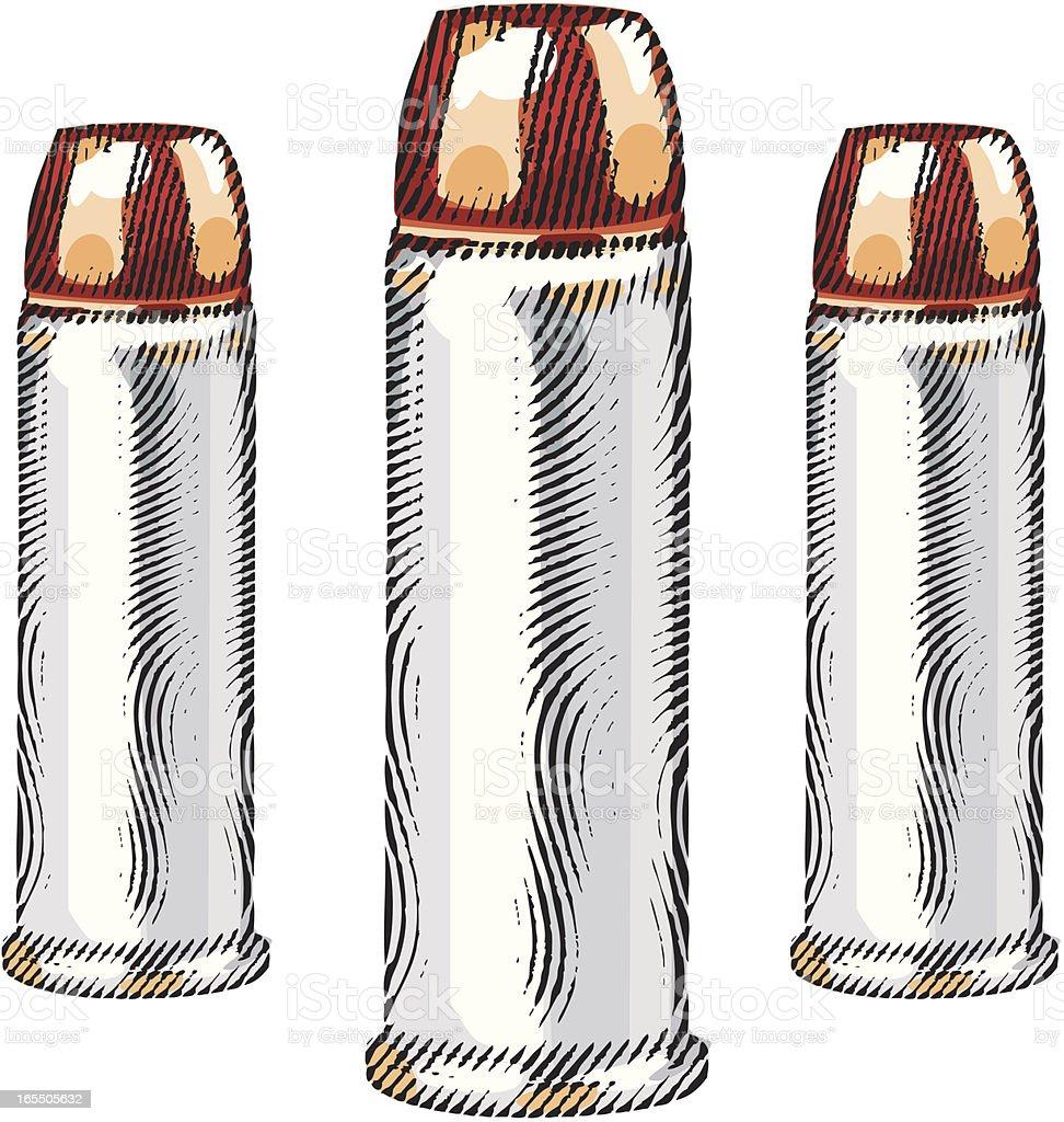 Engraving of Bullets vector art illustration