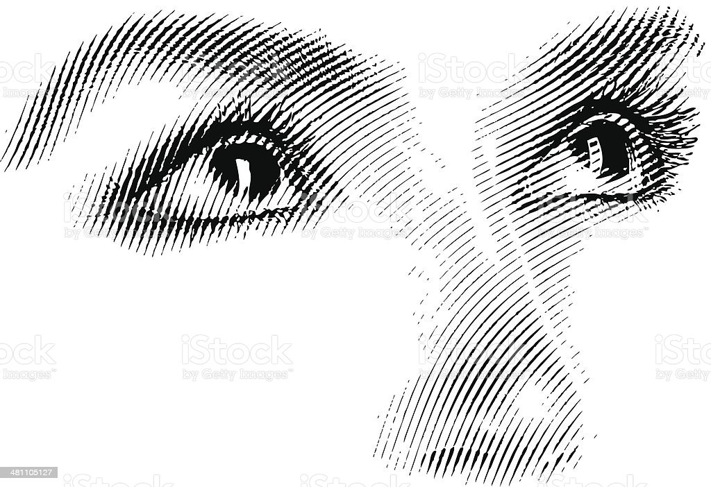 Engraving Of Eyes Looking Up vector art illustration