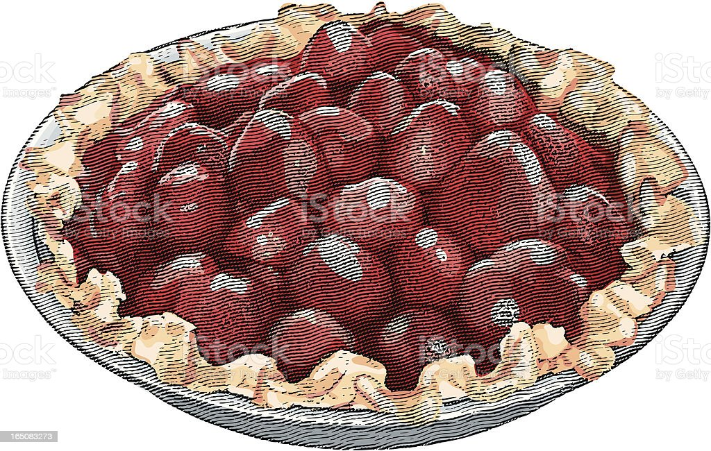 Engraving of Strawberry Pie royalty-free stock vector art