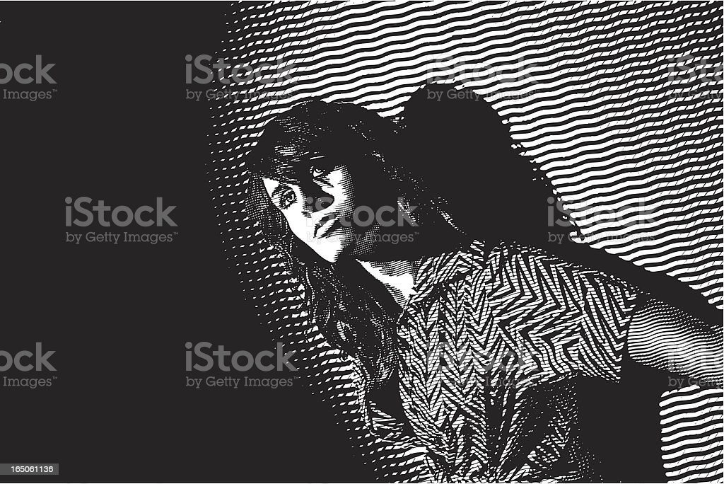 Engraving of Woman at Nightclub royalty-free stock vector art