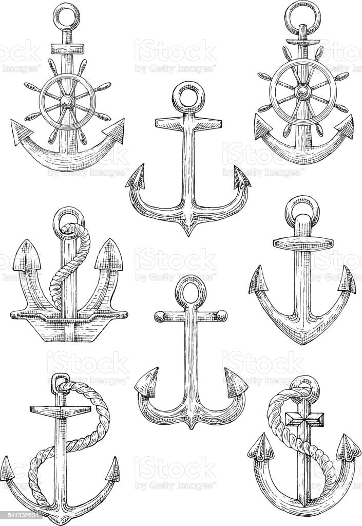 Engraving sketched anchors with helms and ropes vector art illustration